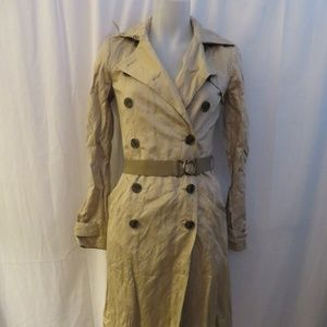 GRYPHON TAN DOUBLE BREASTED TRENCH COAT W/BELT XS